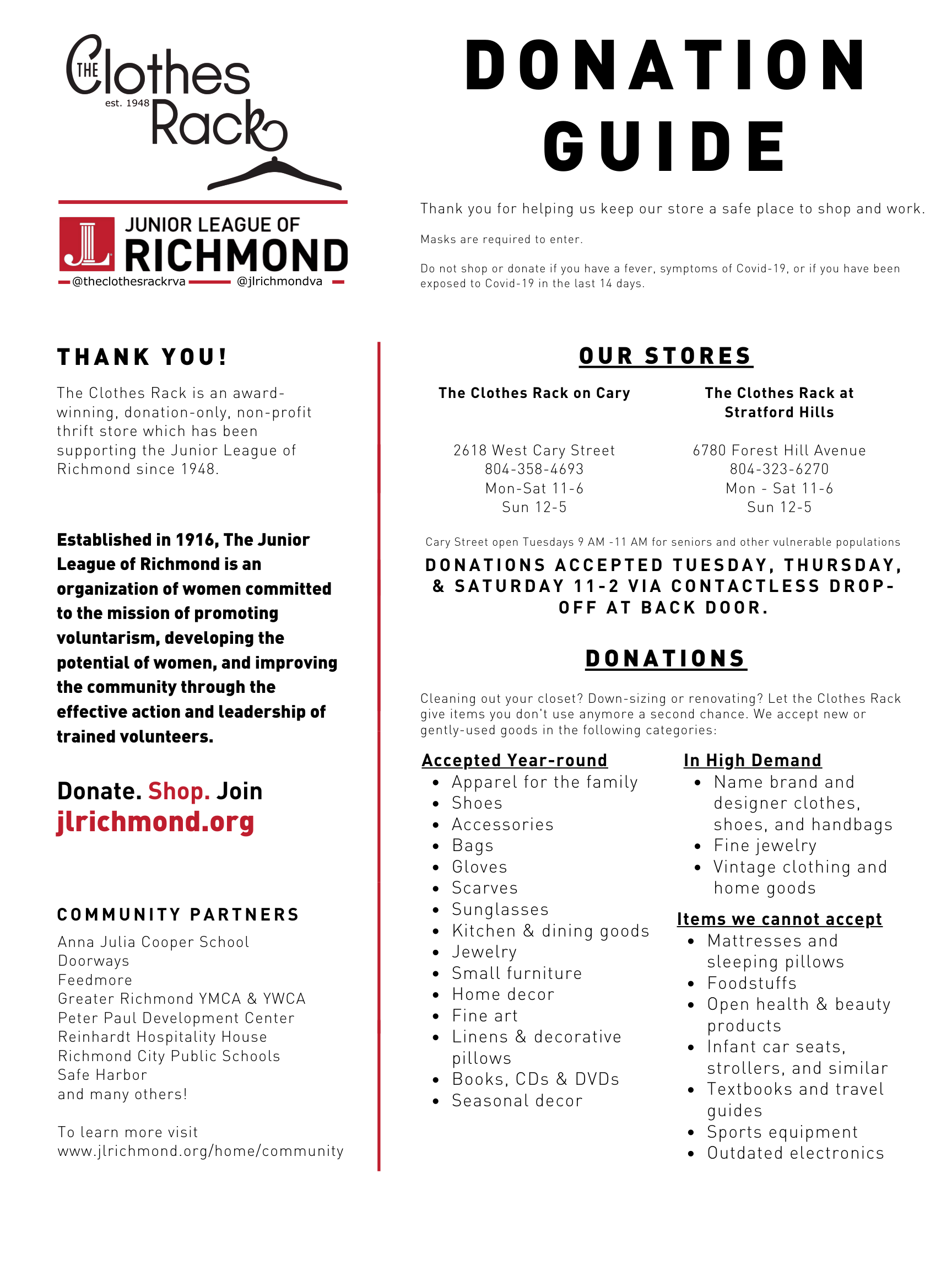 descriptions of items one may donate to the Clothes Rack Stores and store hours and location information